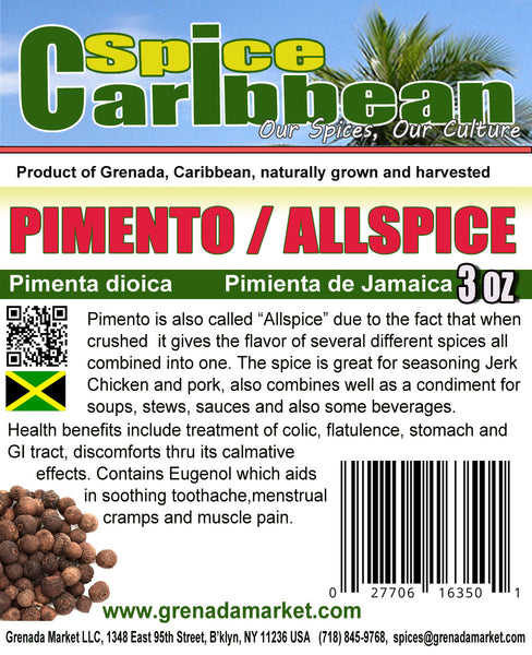 PIMENTO - WHOLE (6 Oz in resealable pouch), product of Jamaica, Caribbean