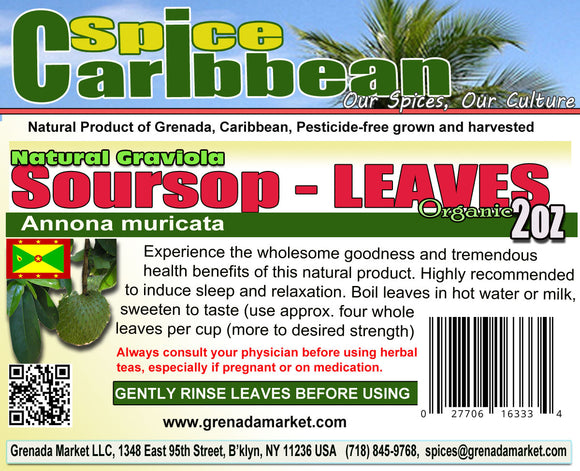 Sour Sop/Graviola Whole/cut Leaves - Organic, Pure Grenada (2oz in resealable pouch)