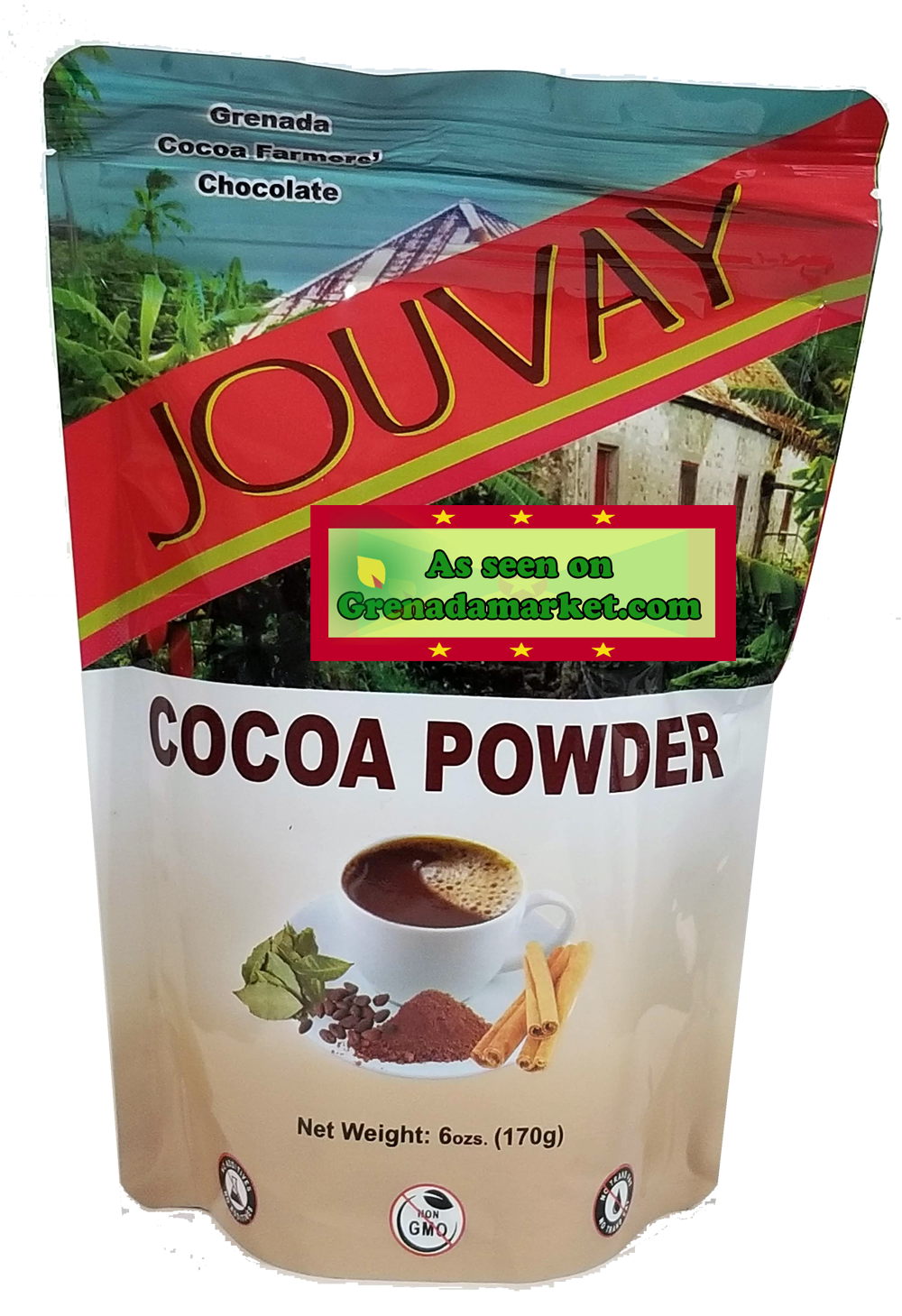 100% Cocoa Powder - Natural in 6 Oz Resealable Pouch - Grenada, Caribbean