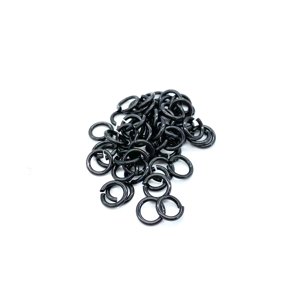 6mm Black Stainless Steel Jump Ring - 50 pieces