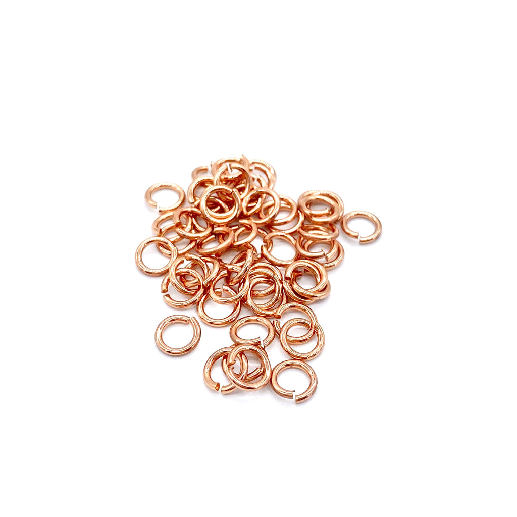 6mm Rose Gold Stainless Steel Jump Ring - 50 pieces