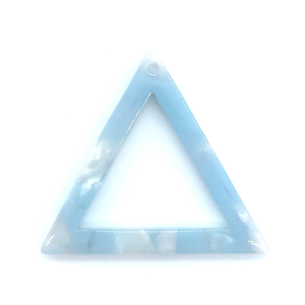 Acrylic Triangle Outline - Light Blue with Pink Flecks - 2 pieces