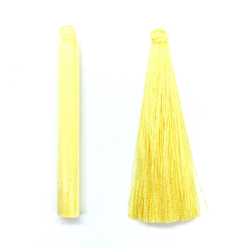 65mm Silk Tassel Yellow - 2 pieces