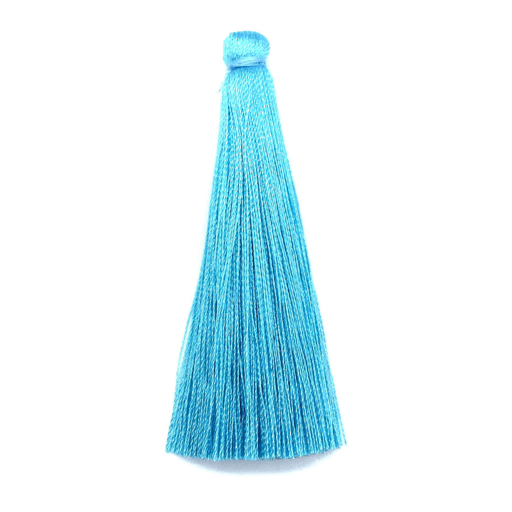 65mm Silk Tassel Light Blue - 2 pieces