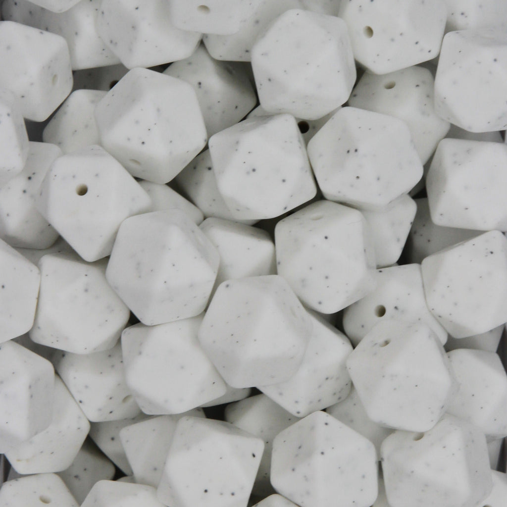 White Granite 17mm Hexagon Silicone Beads - 1 piece