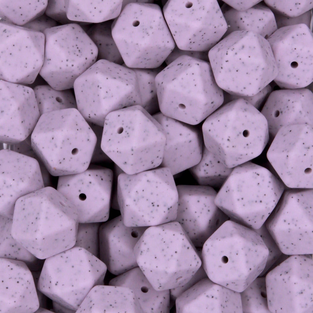 Light Lilac Granite 17mm Hexagon Silicone Beads - 1 piece