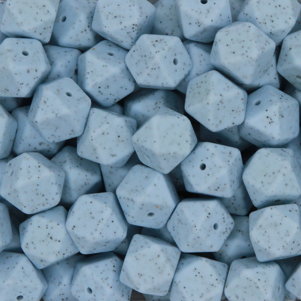 Baby Blue Granite 17mm Hexagon Silicone Beads - 1 piece