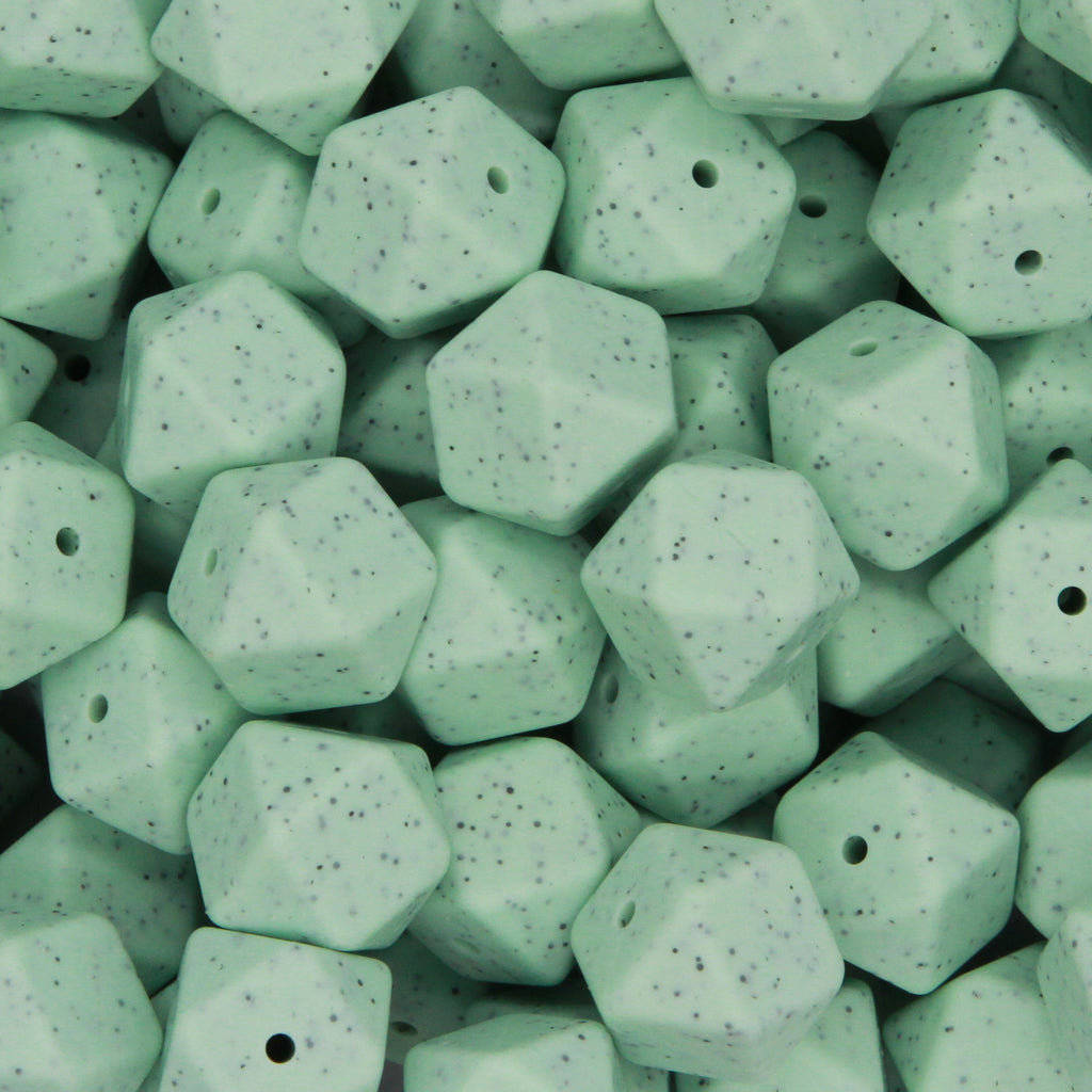 Mint Granite 17mm Hexagon Silicone Beads - 1 piece
