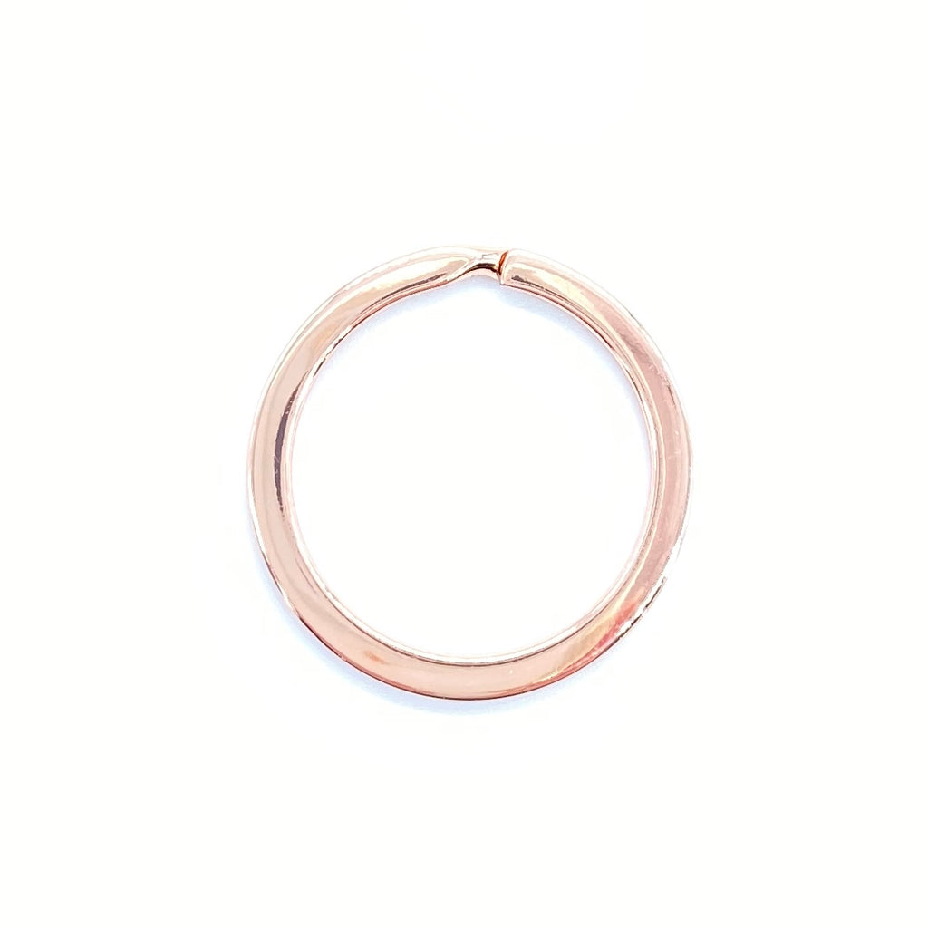 25mm Rose Gold Round Flat Split Key Rings - 1 piece