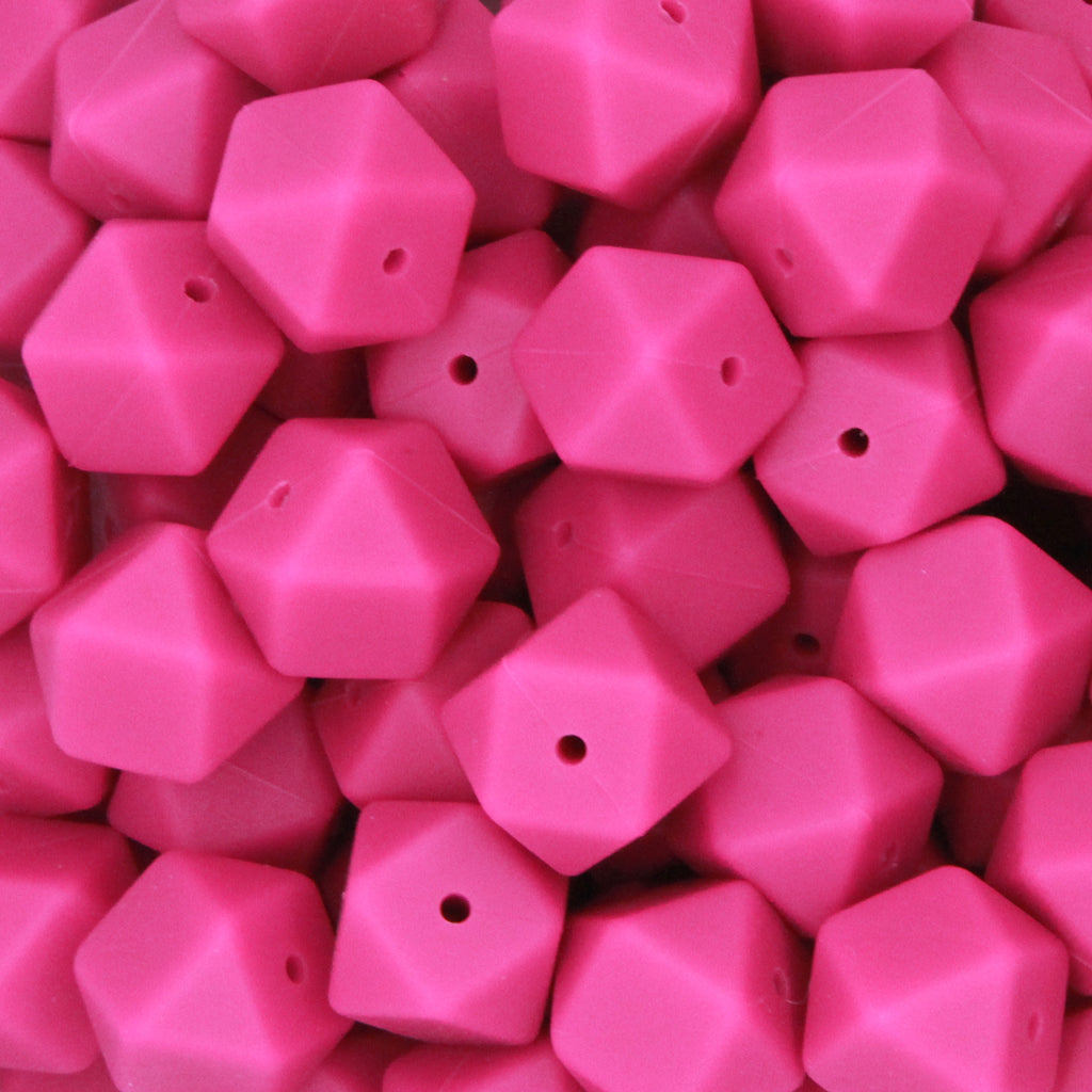 Violet Red 17mm Hexagon Silicone Beads - 1 piece