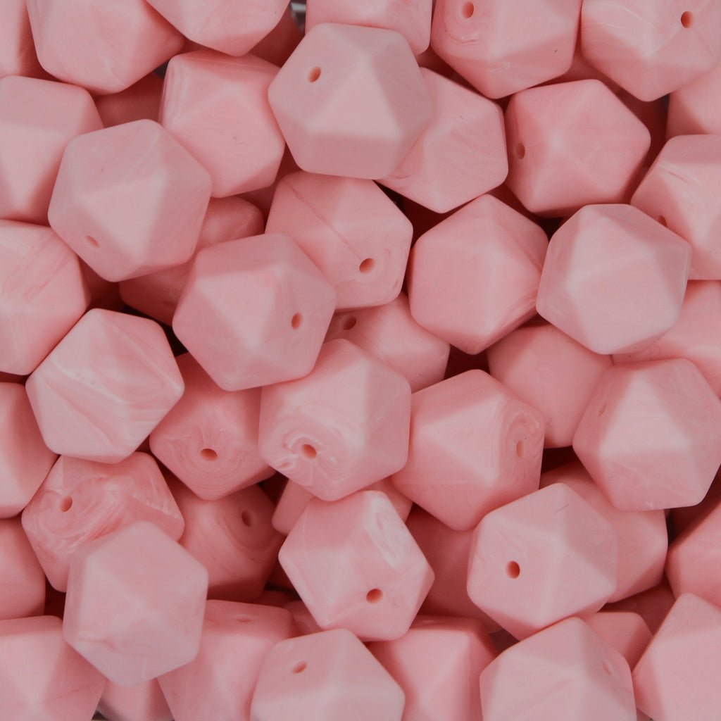 Pink Marble 17mm Hexagon Silicone Beads - 1 piece