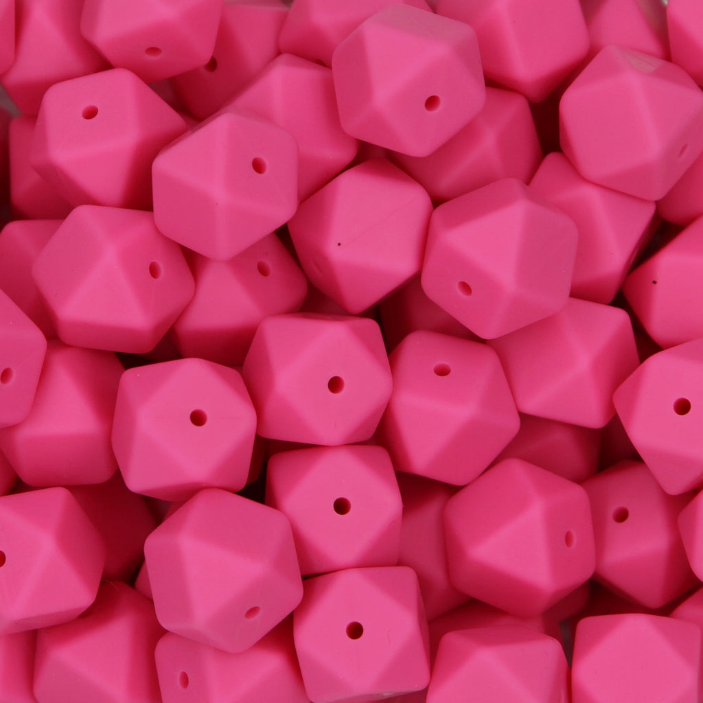 Hot Pink 17mm Hexagon Silicone Beads - 1 piece