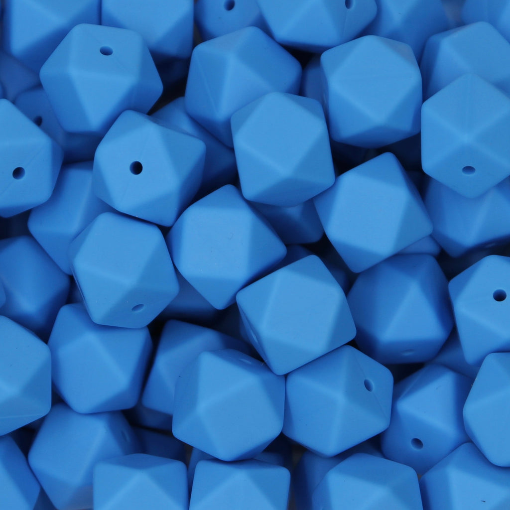 Blue 17mm Hexagon Silicone Beads - 1 piece
