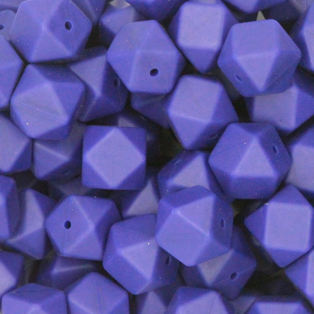 Royal Blue 17mm Hexagon Silicone Beads - 1 piece