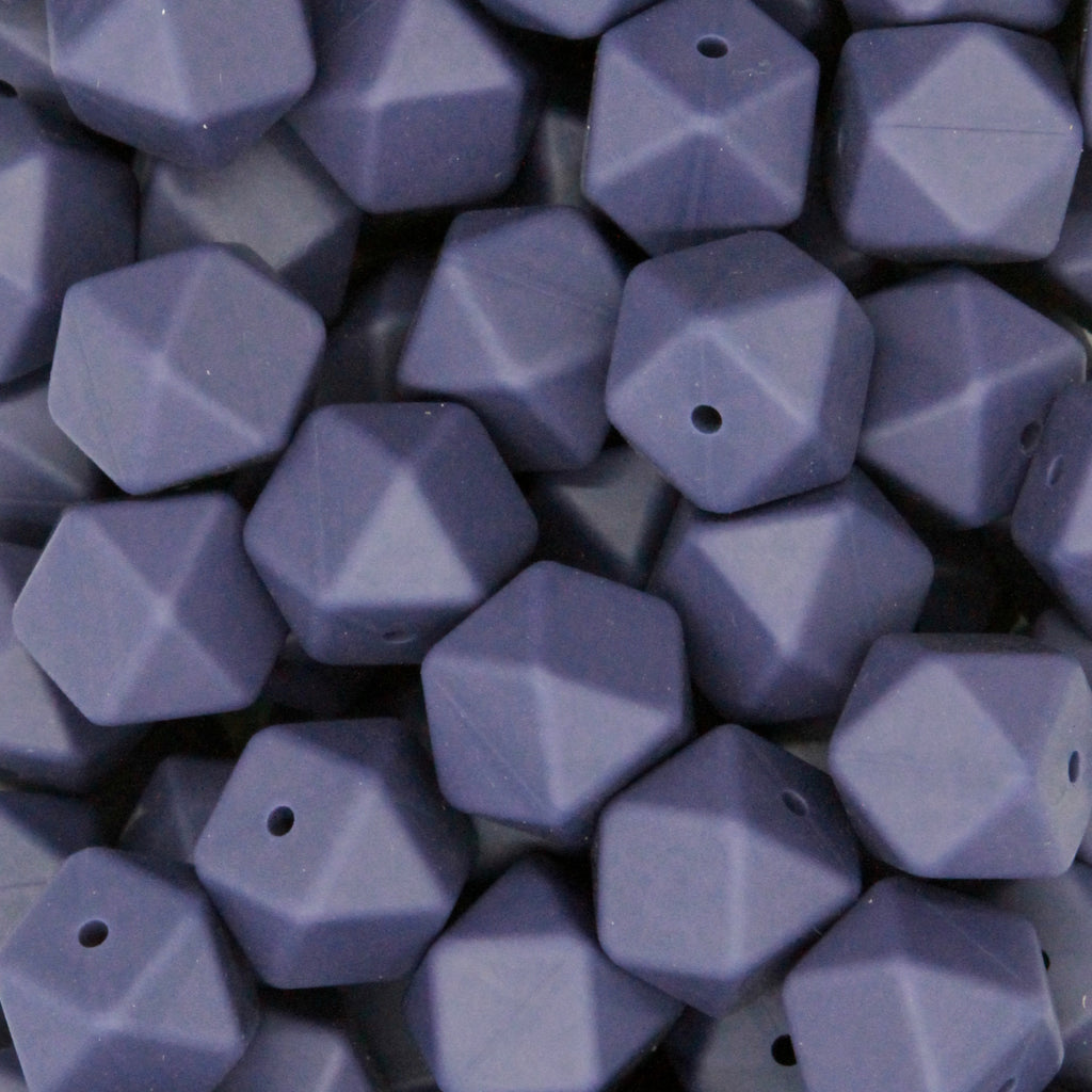 Navy Blue 17mm Hexagon Silicone Beads - 1 piece