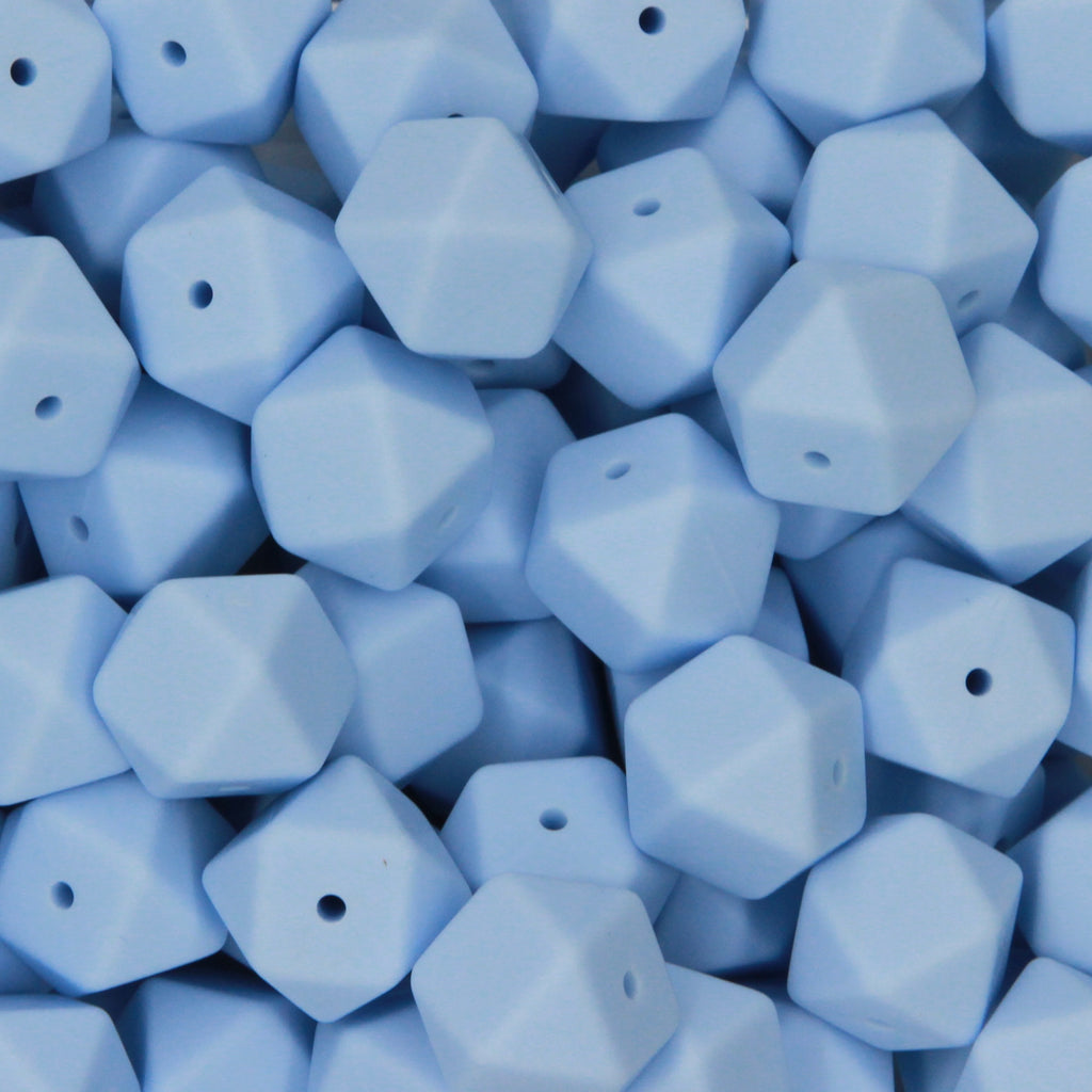 Pastel Blue 17mm Hexagon Silicone Beads - 1 piece