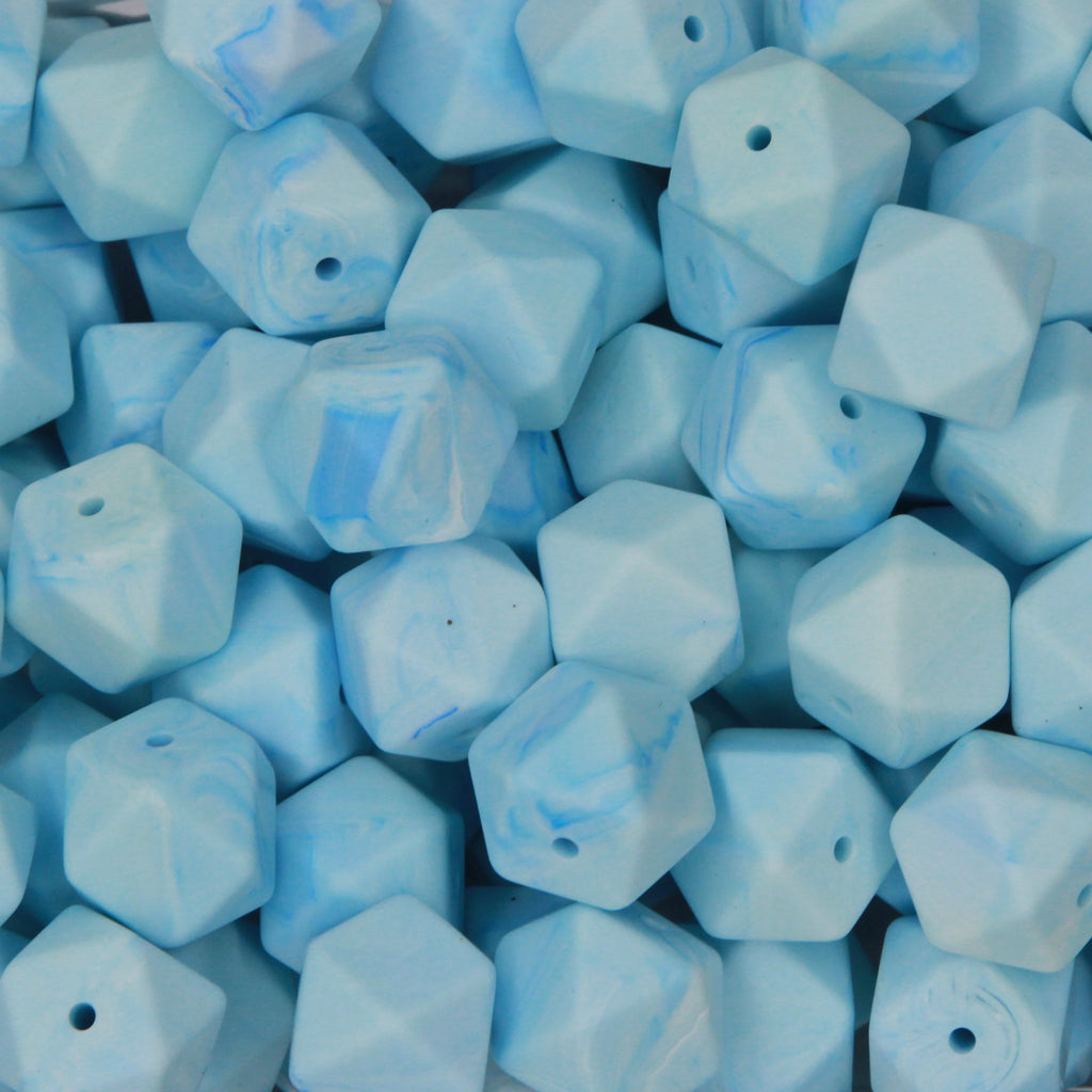 Baby Blue Marble 17mm Hexagon Silicone Beads - 1 piece