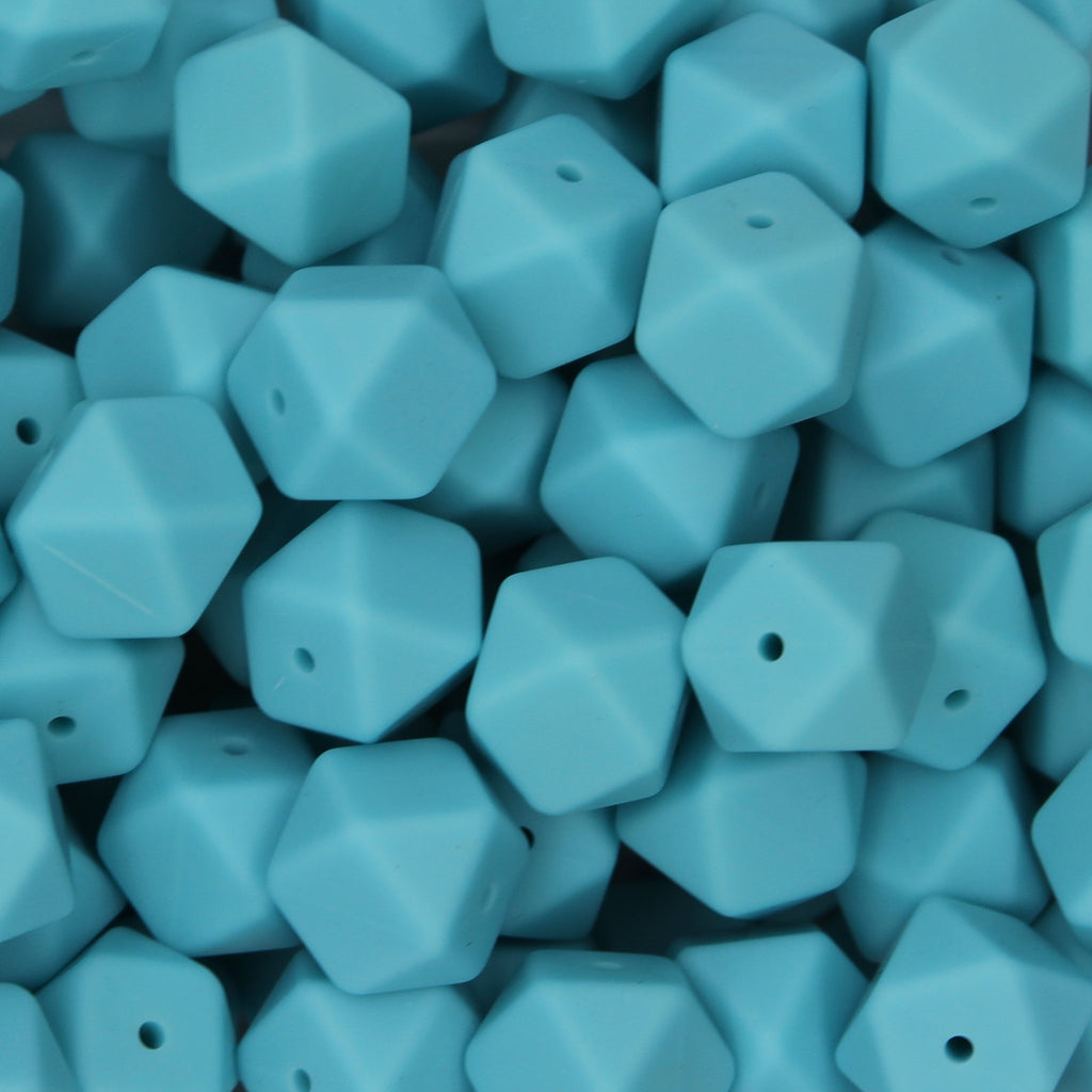 Ocean Blue 17mm Hexagon Silicone Beads - 1 piece