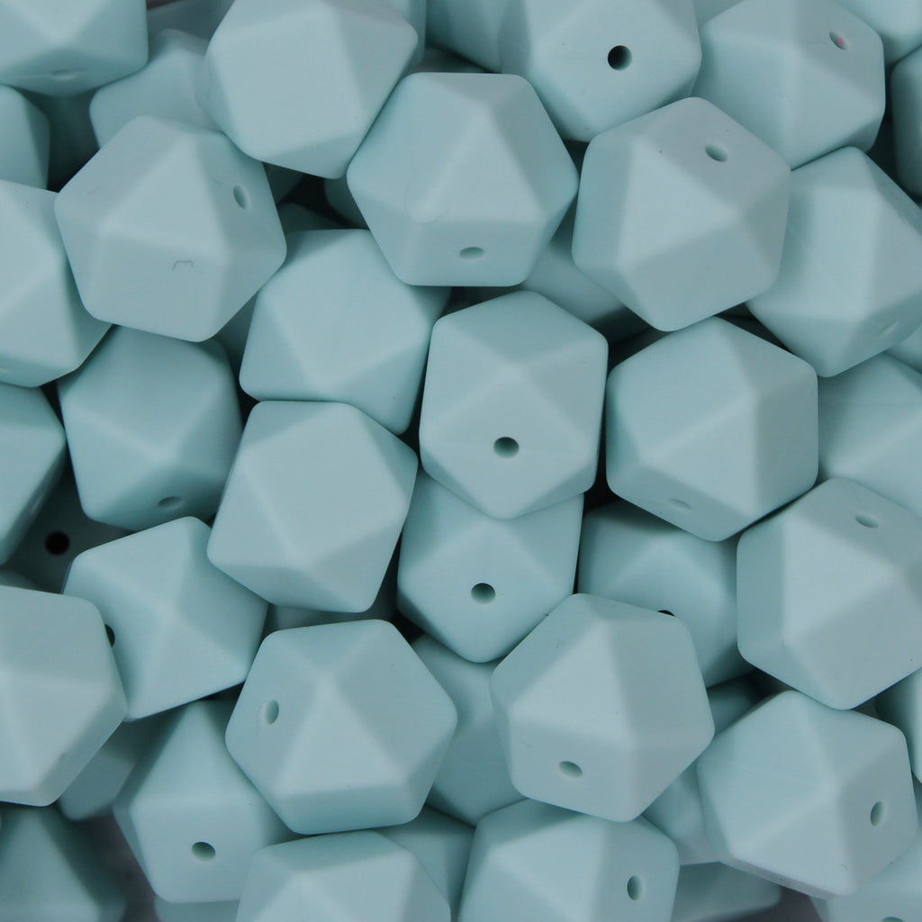Reef Blue 17mm Hexagon Silicone Beads - 1 piece