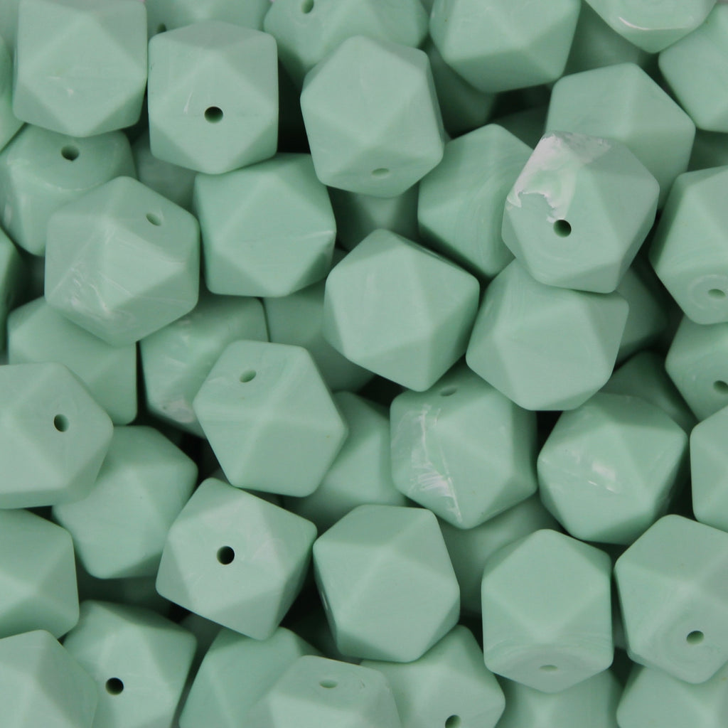 Mint Green Marble 17mm Hexagon Silicone Beads - 1 piece