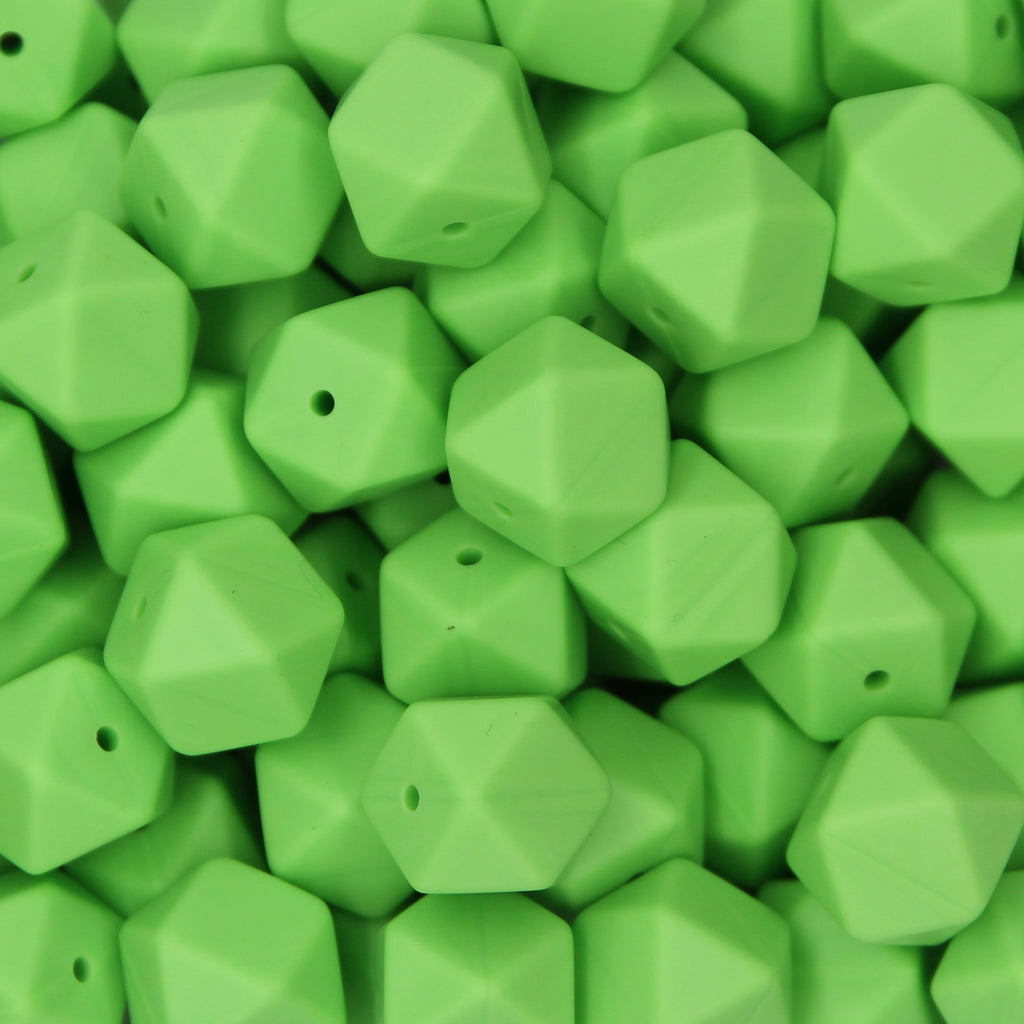 Vibrant Green 17mm Hexagon Silicone Beads - 1 piece