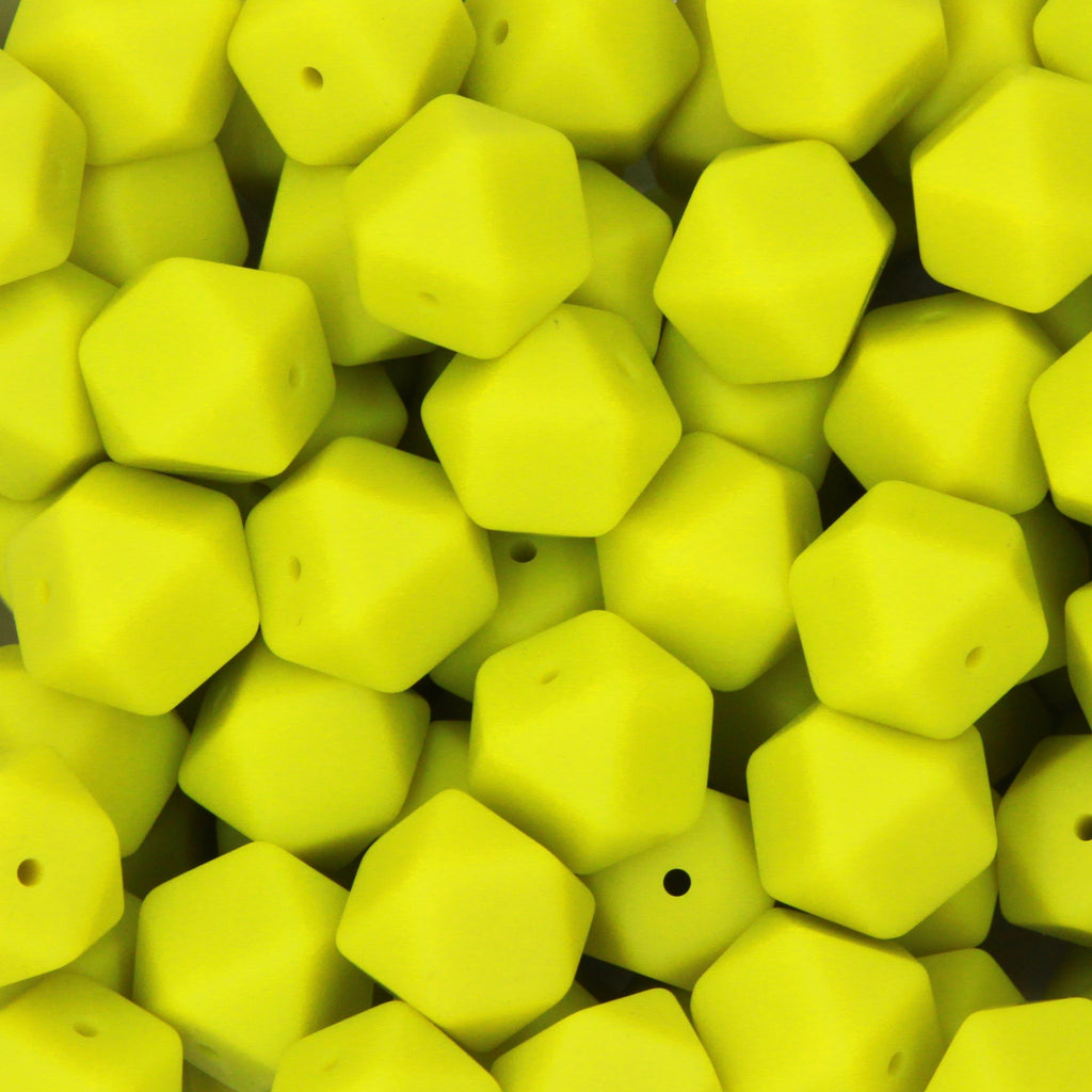 Moss 17mm Hexagon Silicone Beads - 1 piece