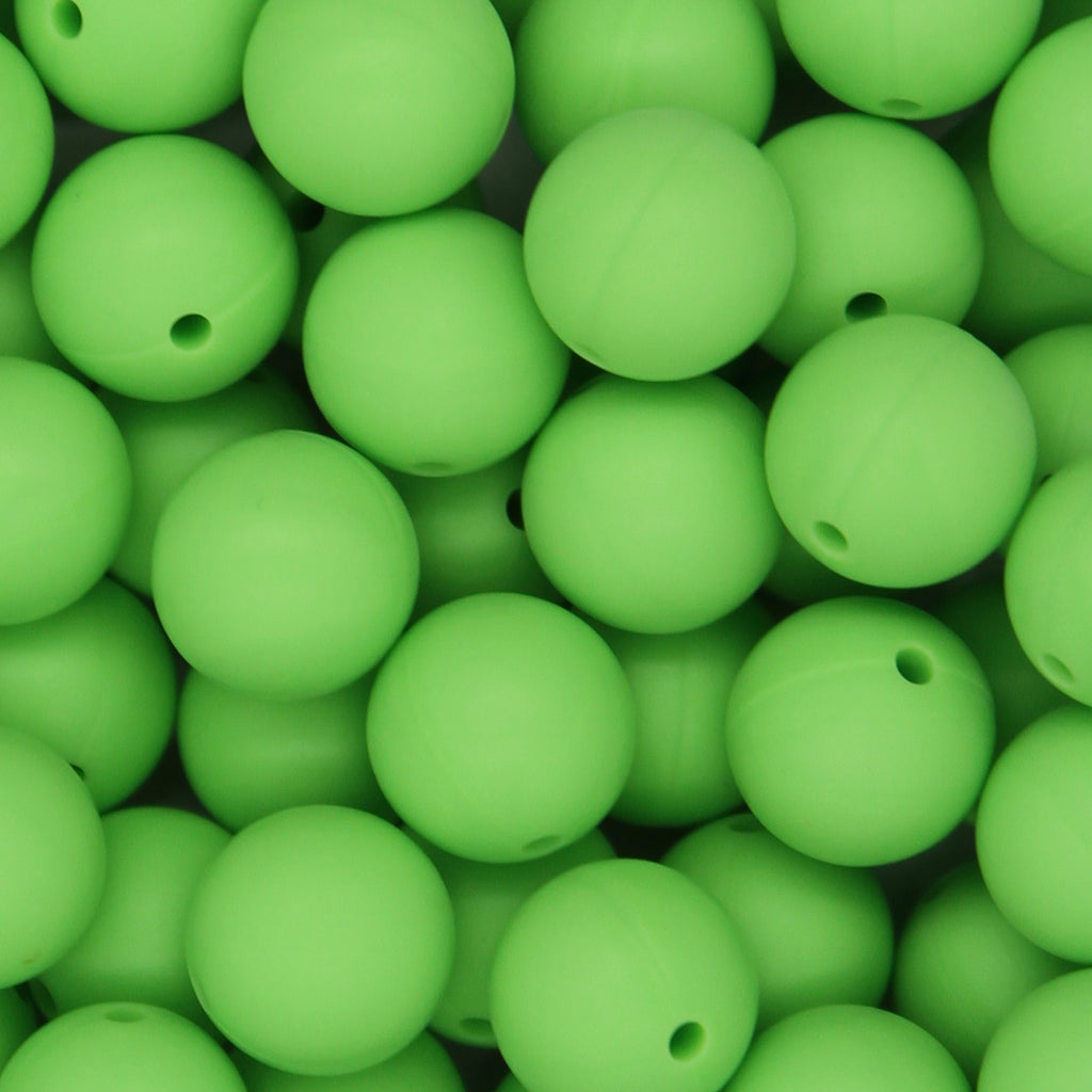 Green 15mm Round Silicone Beads - 1 piece