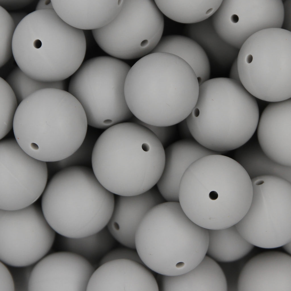 Light Grey 15mm Round Silicone Beads - 1 piece