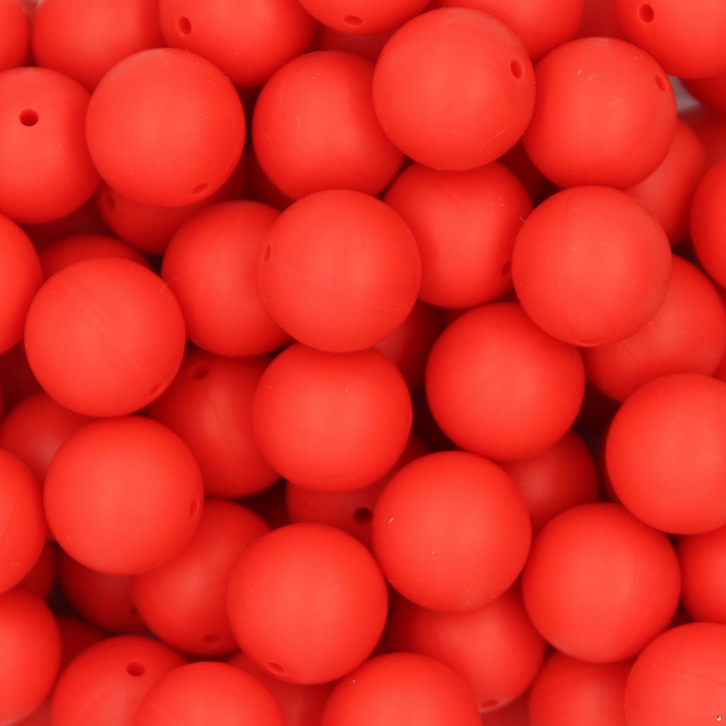 Christmas Red 20mm Round Silicone Beads - 1 piece