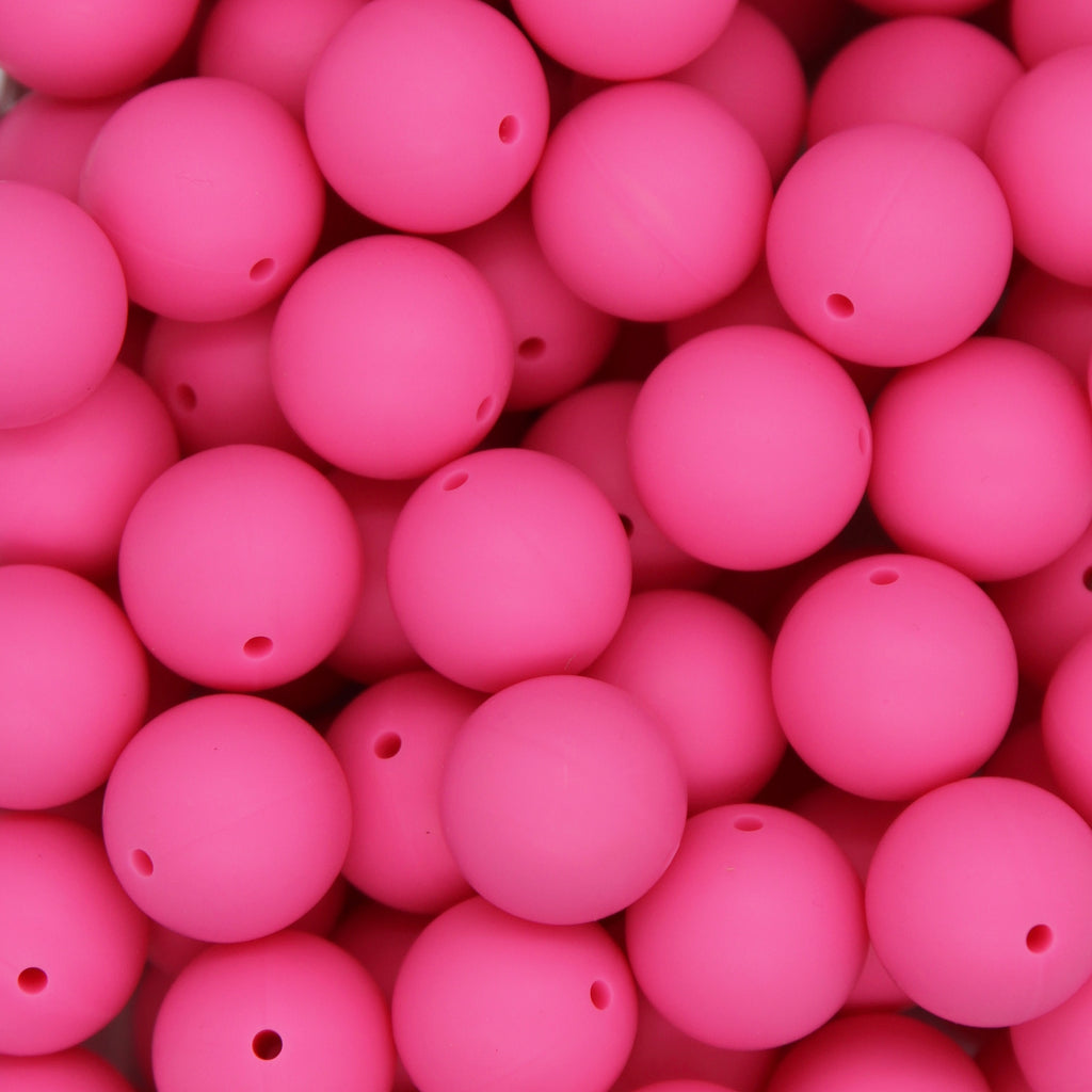Hot Pink 20mm Round Silicone Beads - 1 piece
