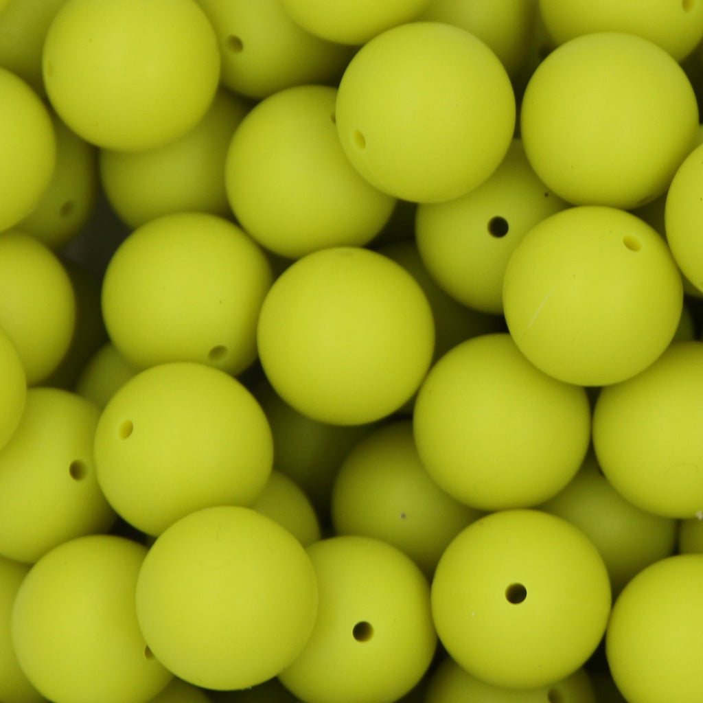 Moss 15mm Round Silicone Beads - 1 piece