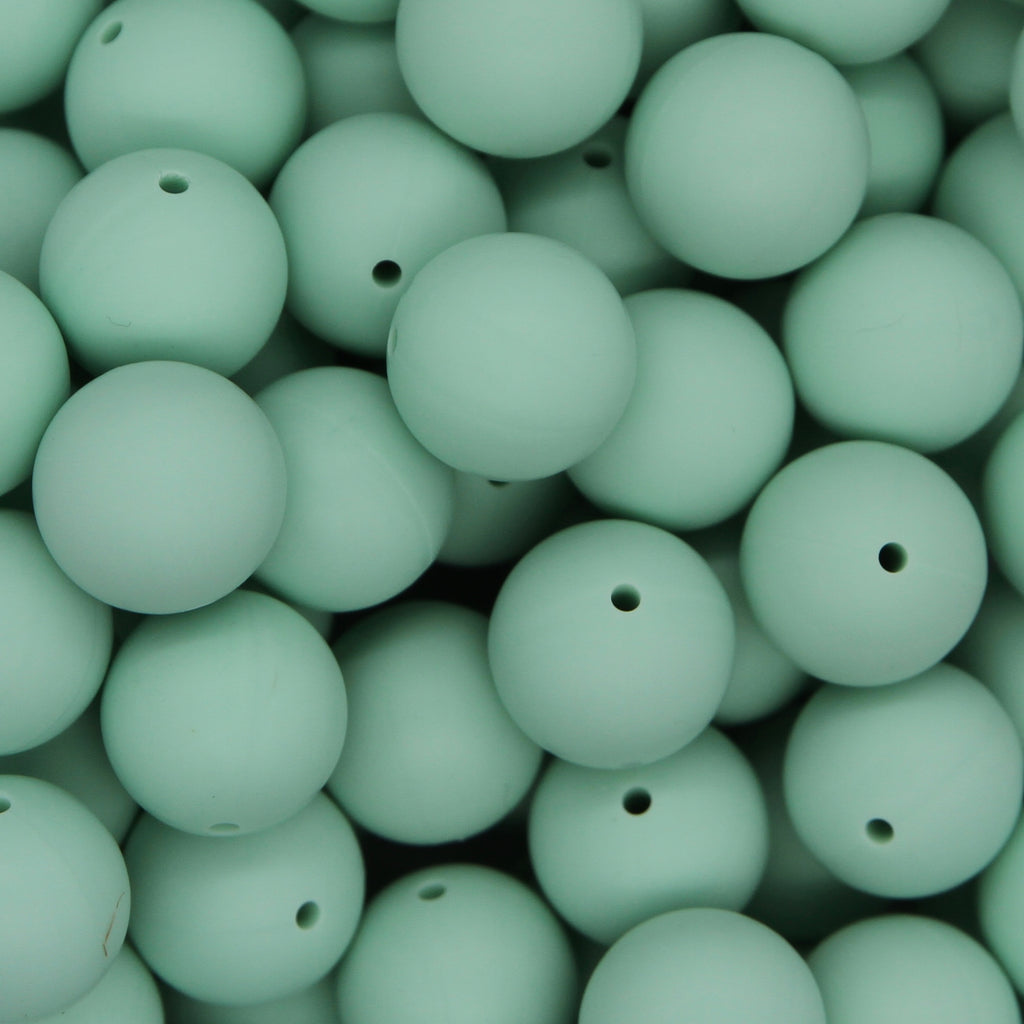 Mint Green 15mm Round Silicone Beads - 1 piece