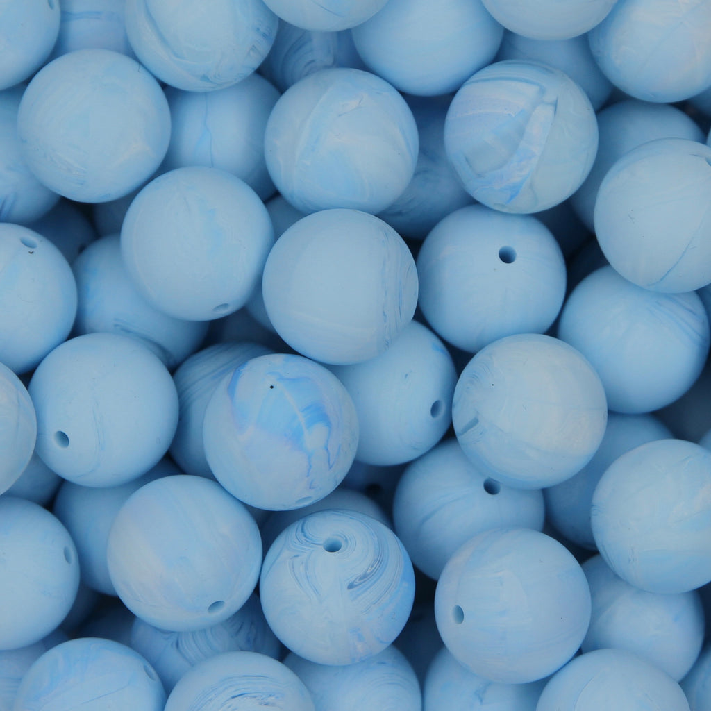 Baby Blue Marble 20mm Round Silicone Beads - 1 piece