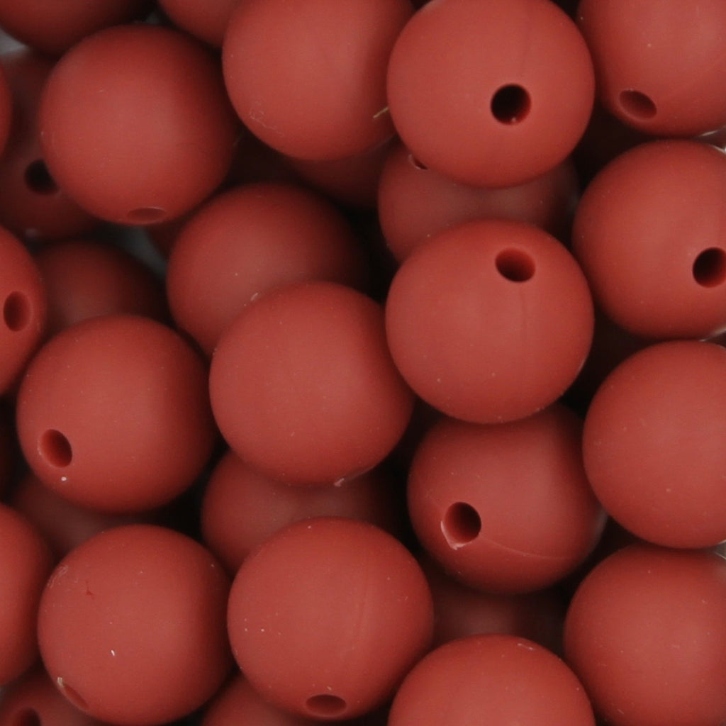 Maroon 12mm Round Silicone Beads - 1 piece