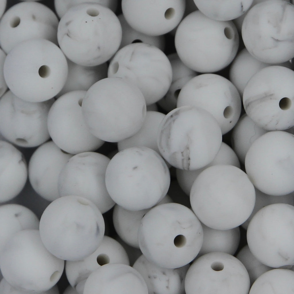 Grey Marble 12mm Round Silicone Beads - 1 piece