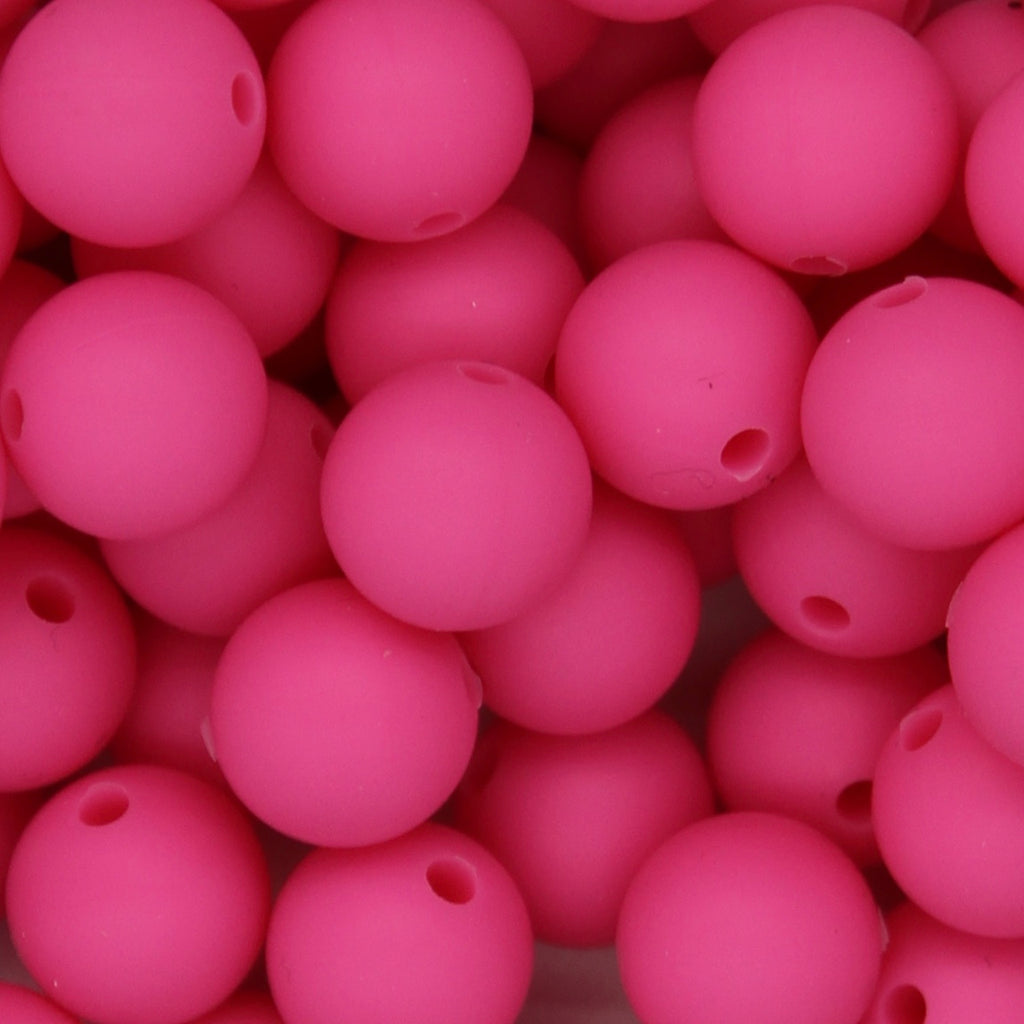 Hot Pink 12mm Round Silicone Beads - 1 piece