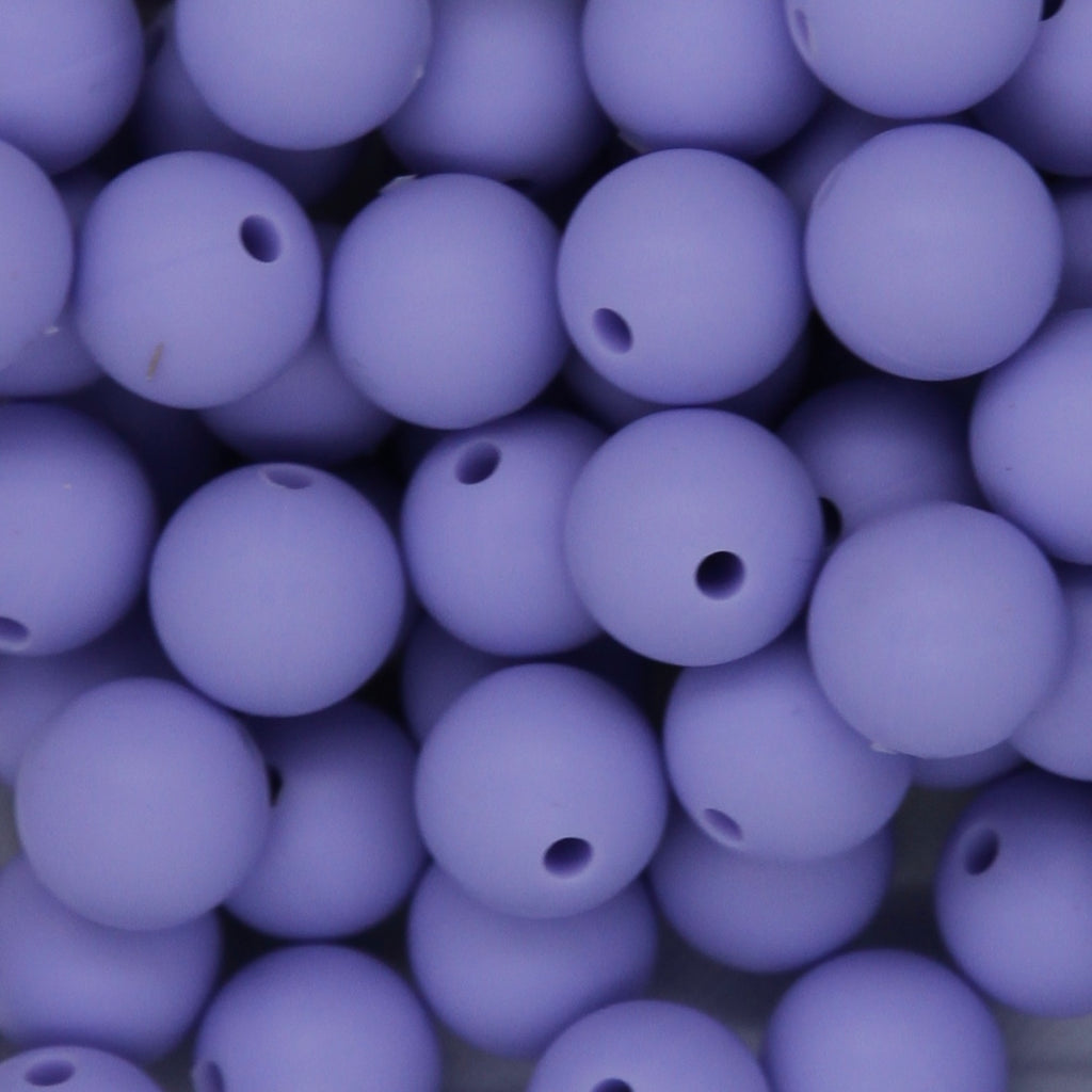 Macaron Purple 12mm Round Silicone Beads - 1 piece