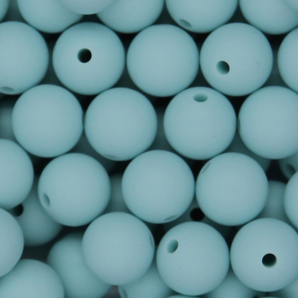 Reef Blue 12mm Round Silicone Beads - 1 piece