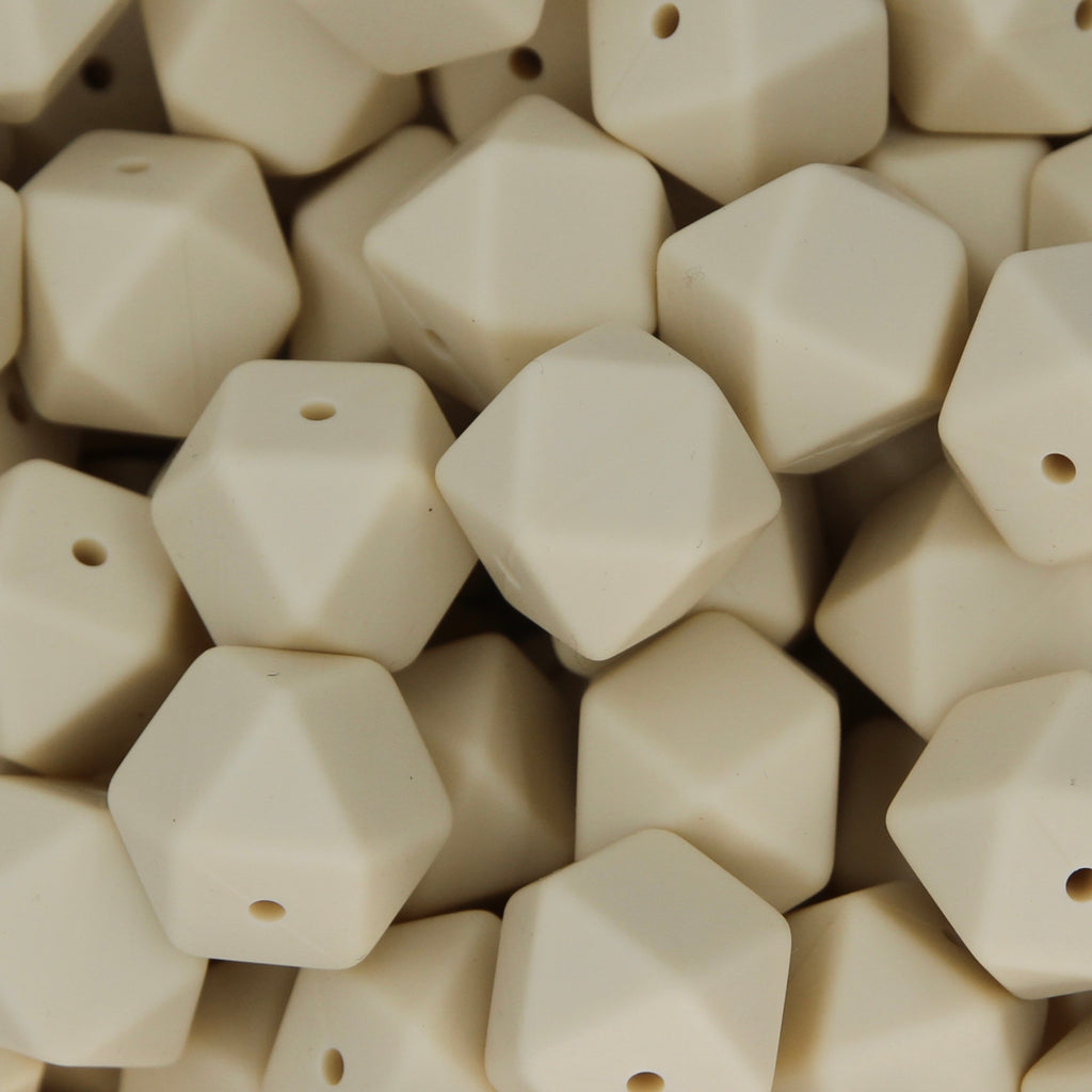 Navajo White 17mm Hexagon Silicone Beads - 1 piece