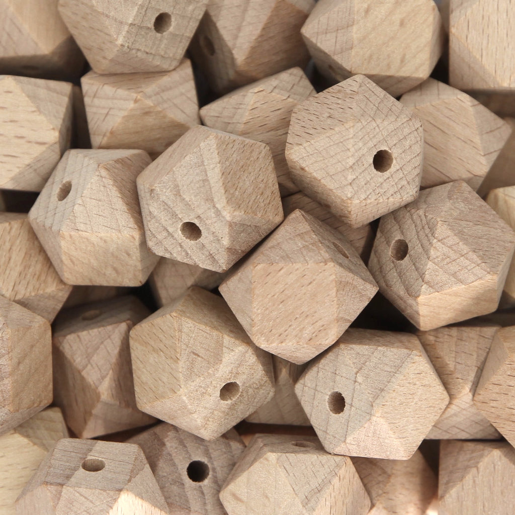 20mm Hexagon Beech Wood Beads - 1 piece