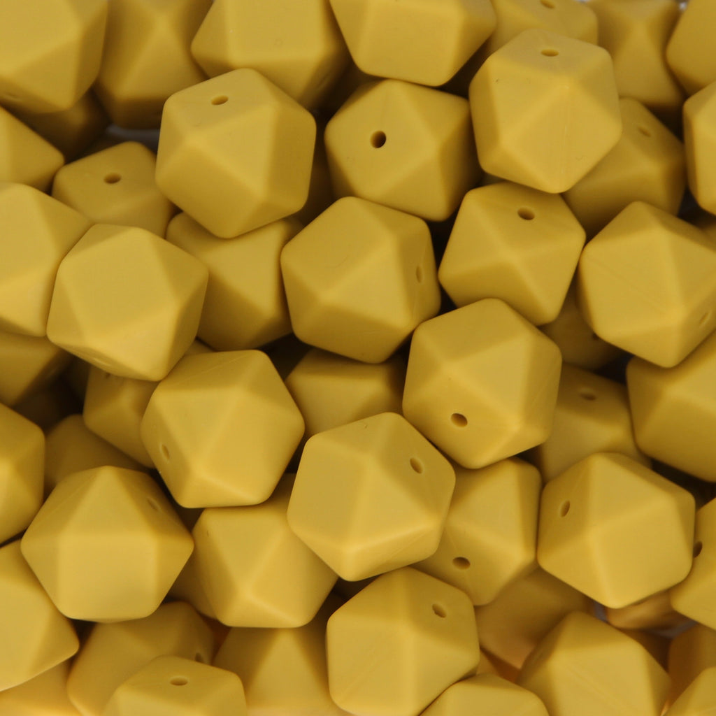 Mango 17mm Hexagon Silicone Beads - 1 piece