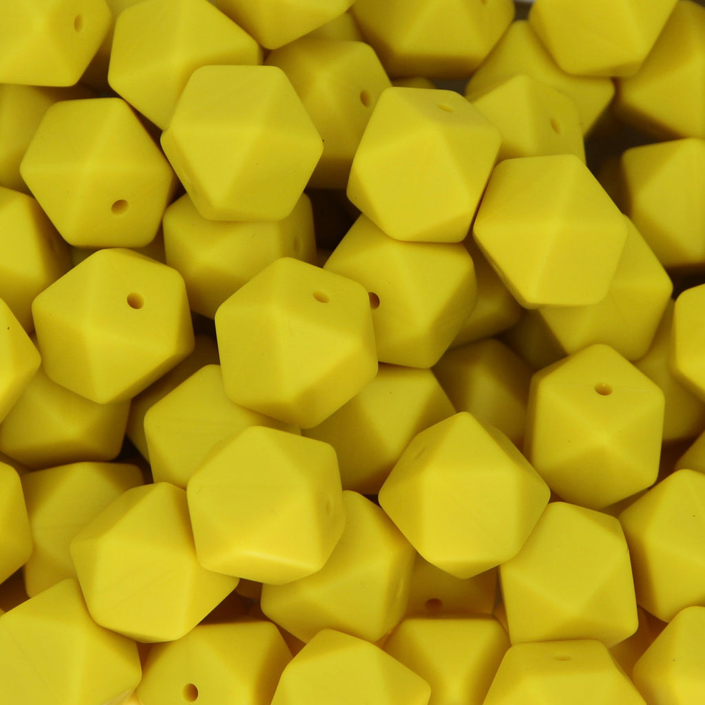 Lemon Yellow 17mm Hexagon Silicone Beads - 1 piece