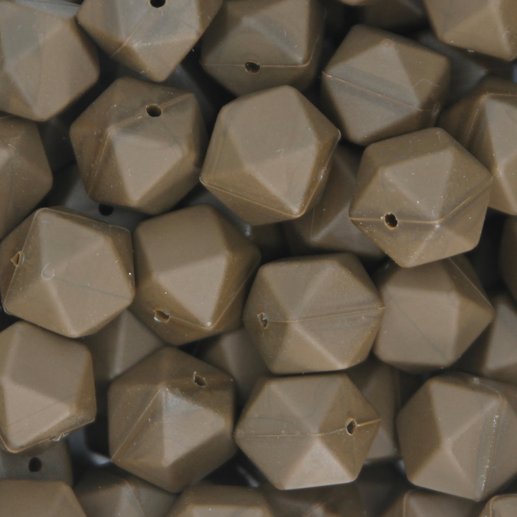 Brown 17mm Hexagon Silicone Beads - 1 piece
