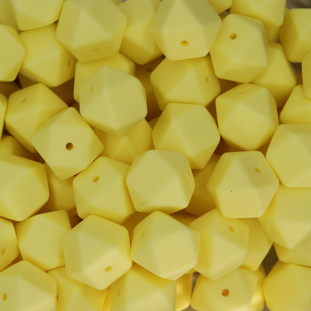 Butter Yellow 17mm Hexagon Silicone Beads - 1 piece