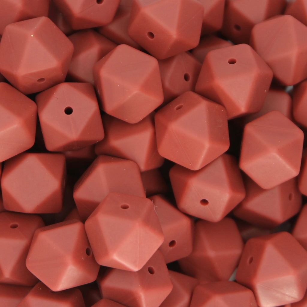 Maroon 17mm Hexagon Silicone Beads - 1 piece