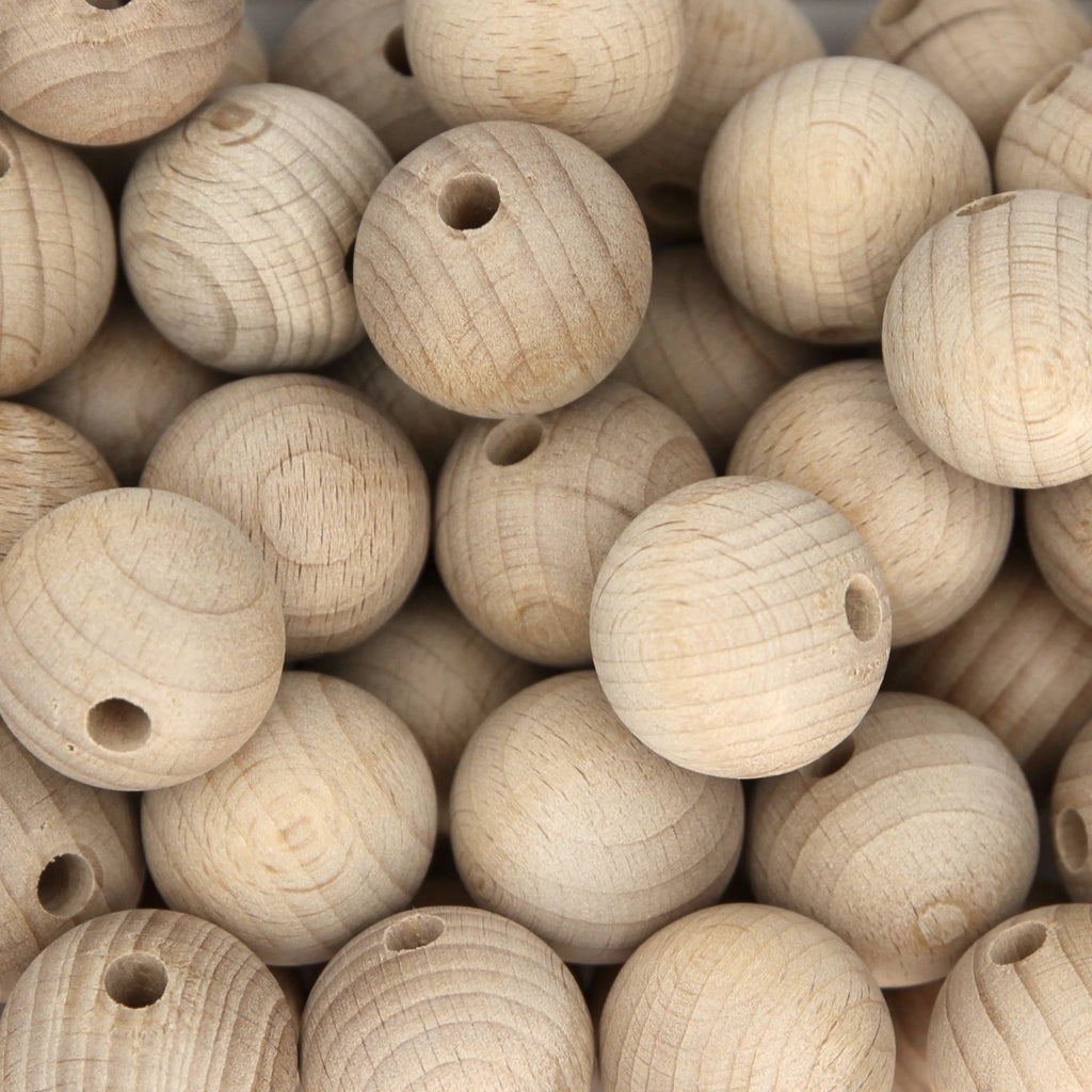 25mm Round Beech Wood Beads