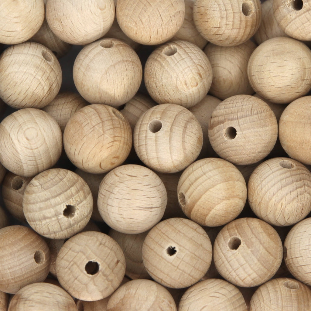 20mm Round Beech Wood Beads - 1 piece