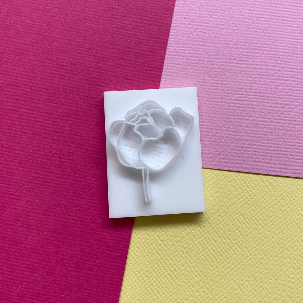Polymer Clay Stamp - Peony 1