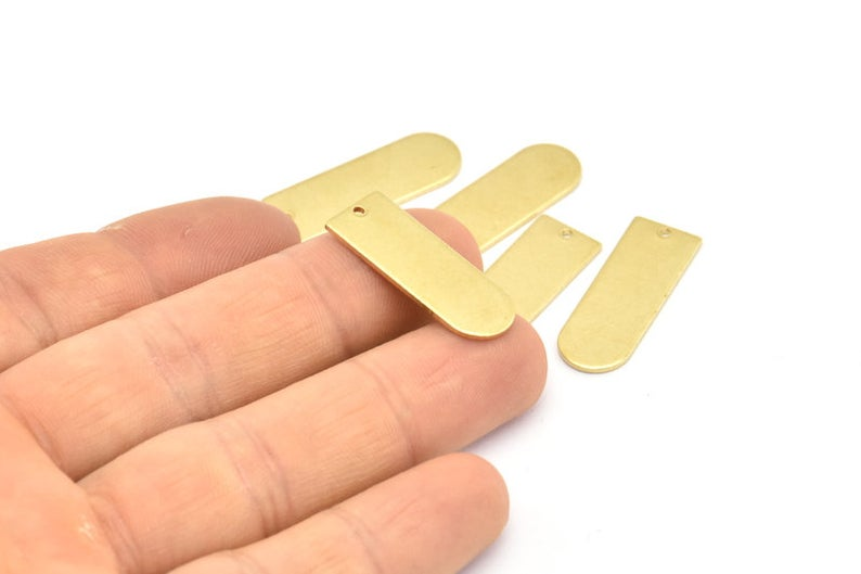 Brass D Blank Charm - 6 pieces