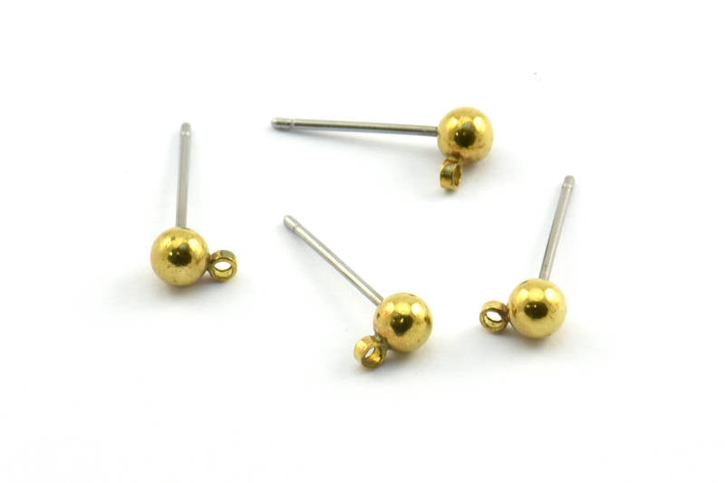 Raw Brass Ball Pad Earring Posts - 10 pieces